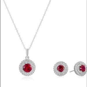 Rhodium Plated Sterling Silver Earrings & Necklace